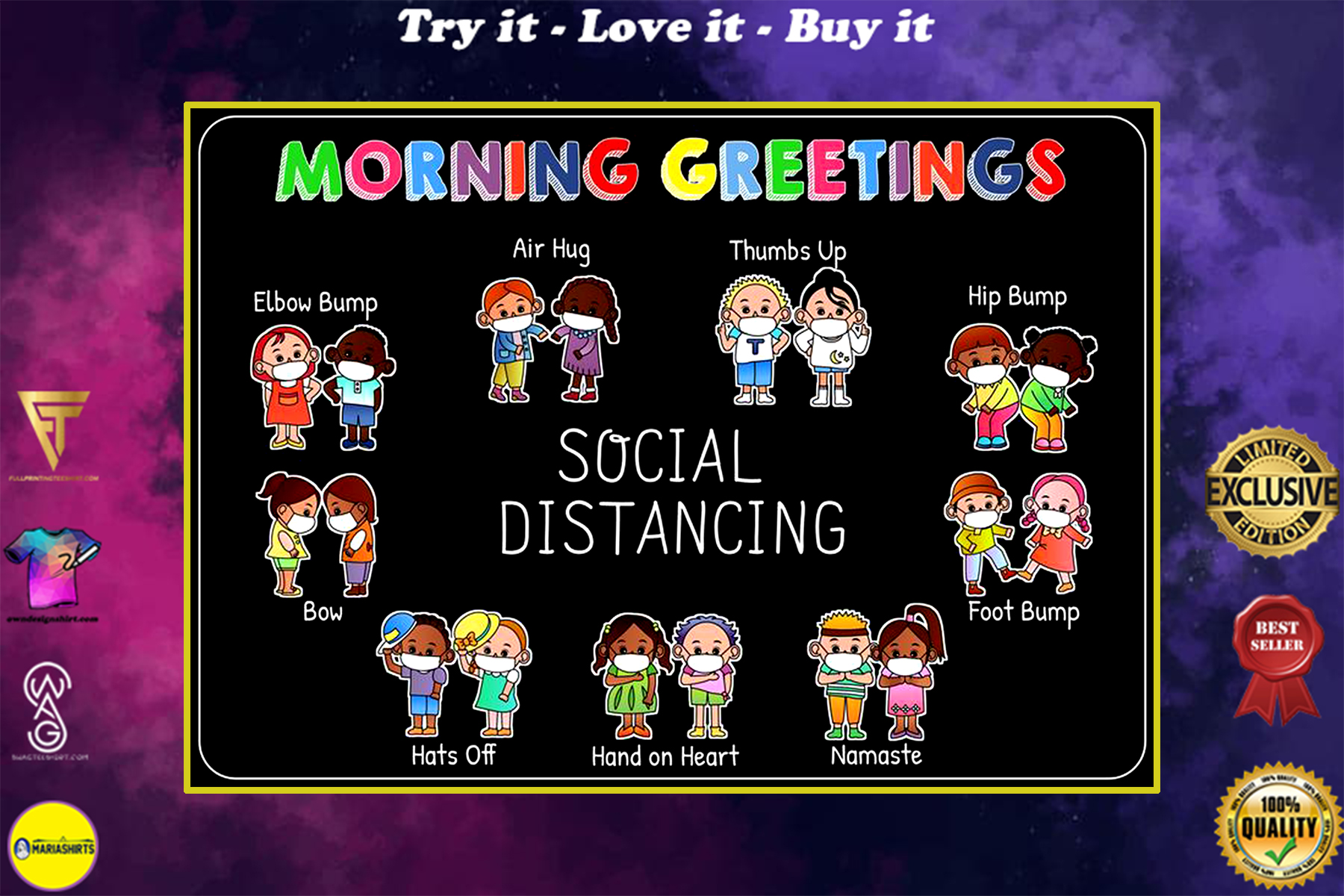 back to school social distancing morning greetings poster
