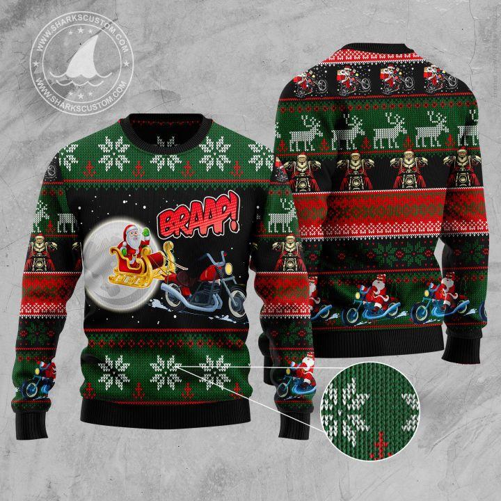 biker santa all over printed ugly christmas sweater 1