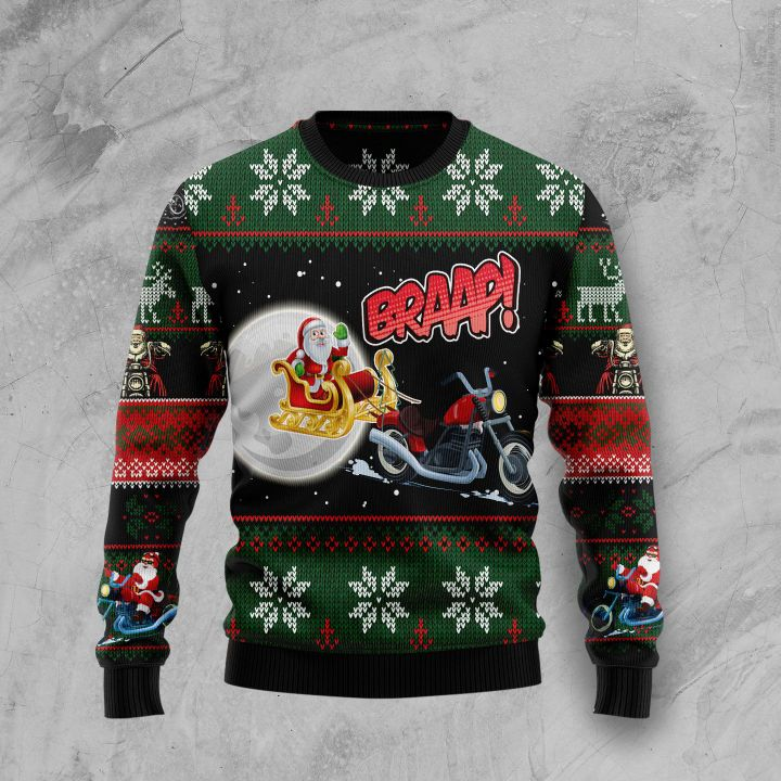 biker santa all over printed ugly christmas sweater 3