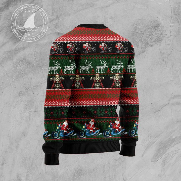 biker santa all over printed ugly christmas sweater 4
