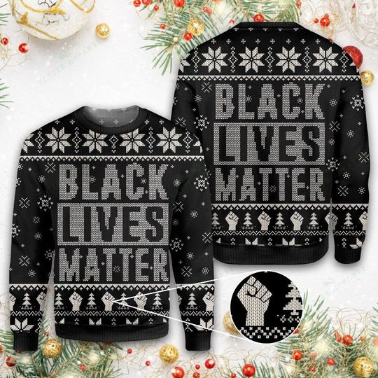 black lives matter all over printed ugly christmas sweater 1