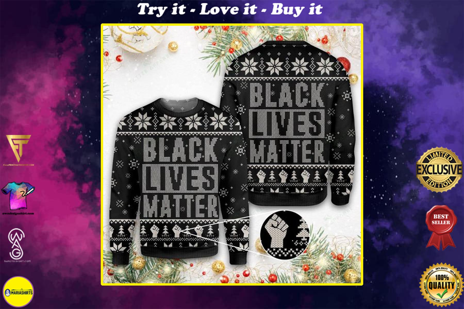 black lives matter all over printed ugly christmas sweater