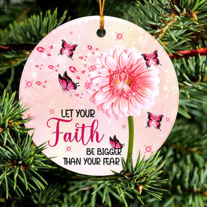 breast cancer awareness butterfly christmas ornament 2