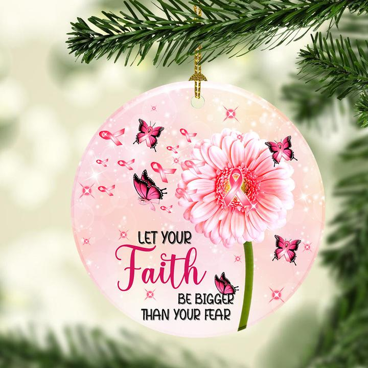 breast cancer awareness butterfly christmas ornament 3