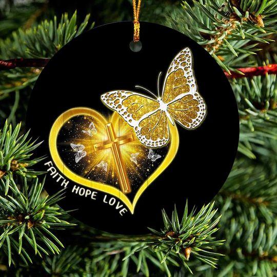 butterfly Jesus faith hope love christmas ornament 2