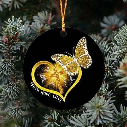 butterfly Jesus faith hope love christmas ornament 3