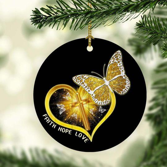 butterfly Jesus faith hope love christmas ornament 4