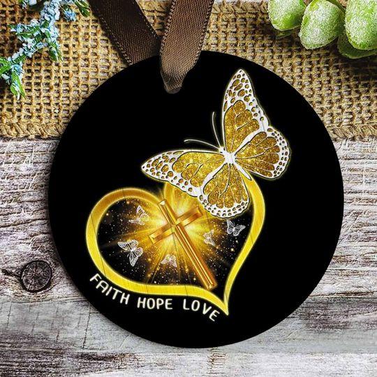butterfly Jesus faith hope love christmas ornament 5