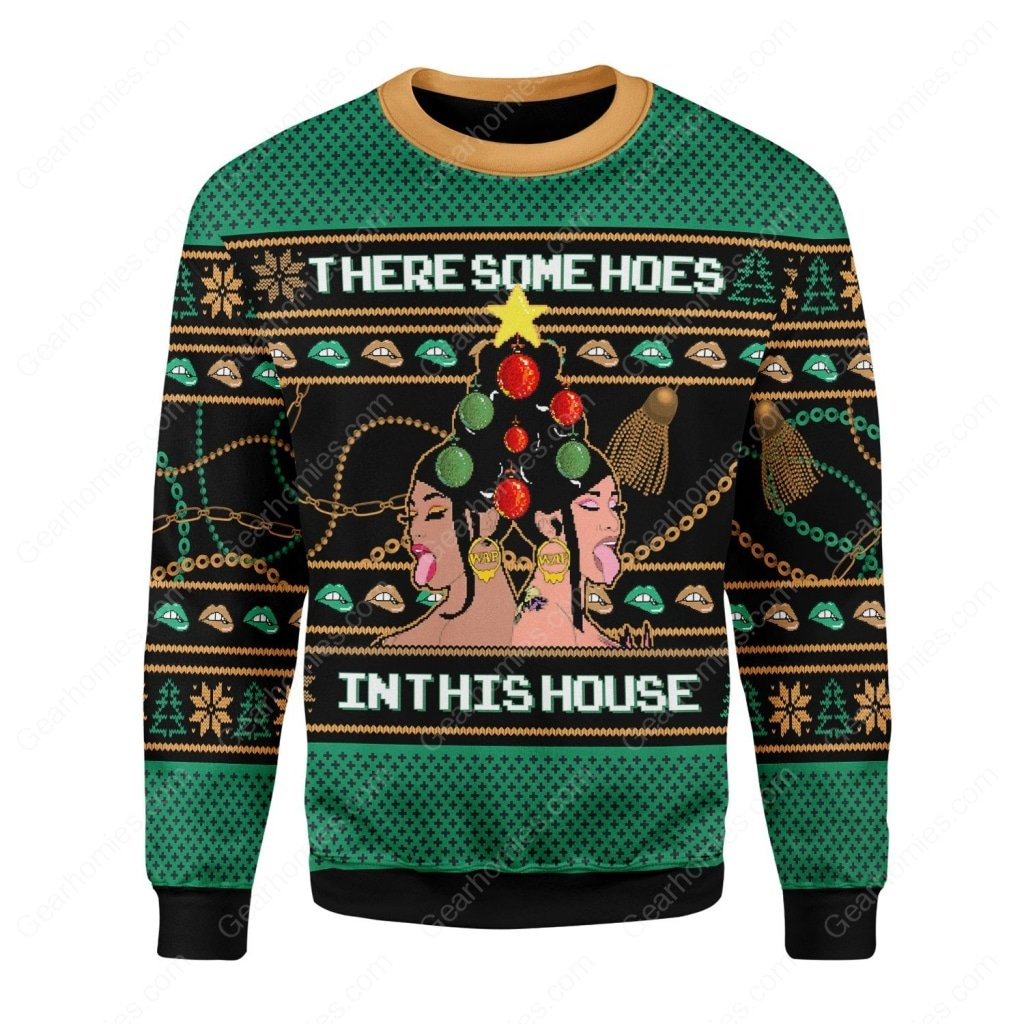 cardi b theres some hos in this house all over printed ugly christmas sweater 1