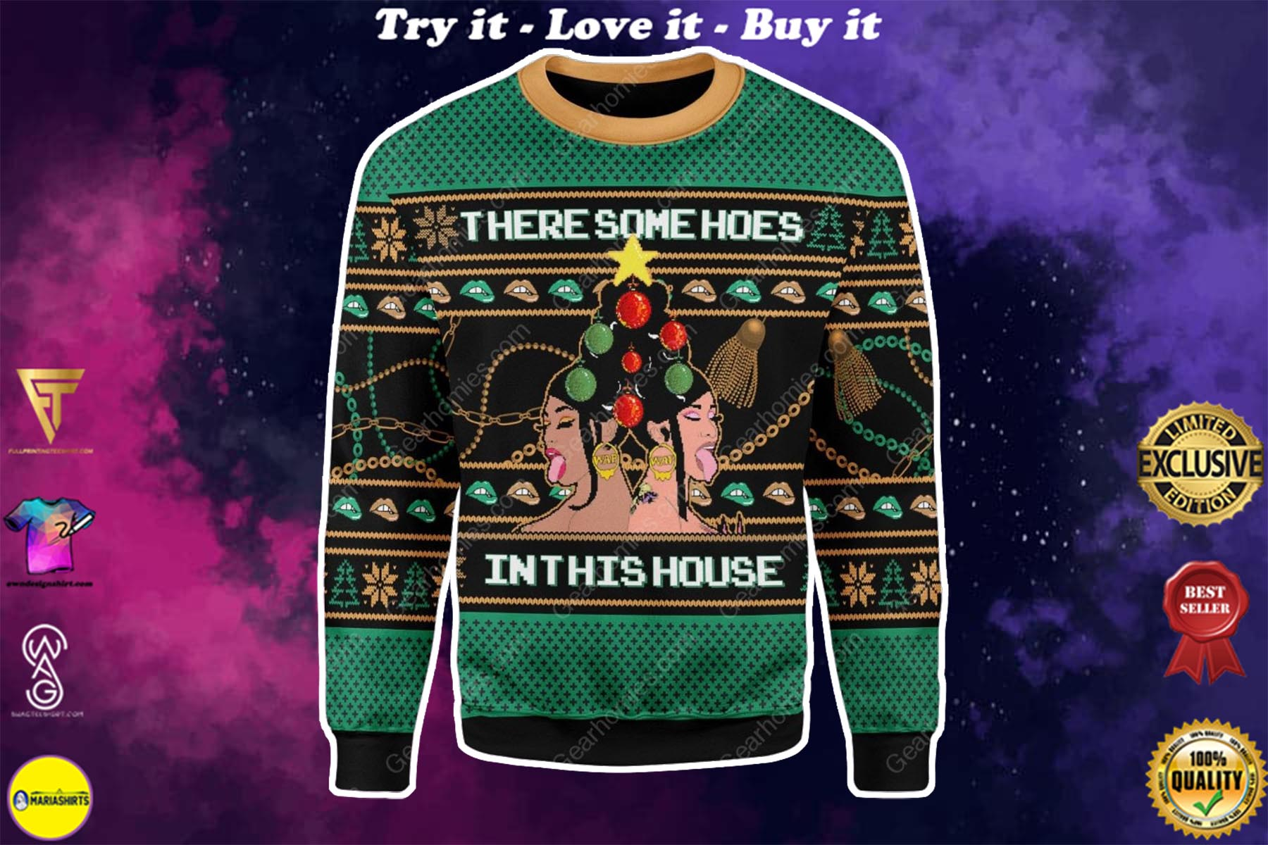 cardi b theres some hos in this house all over printed ugly christmas sweater
