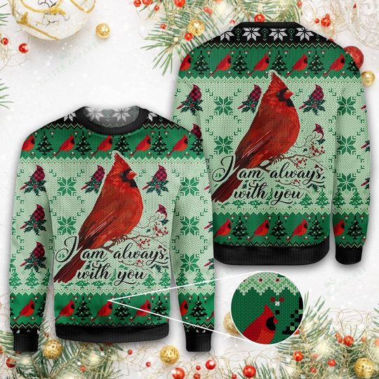 cardinal i am always with you all over printed ugly christmas sweater 1