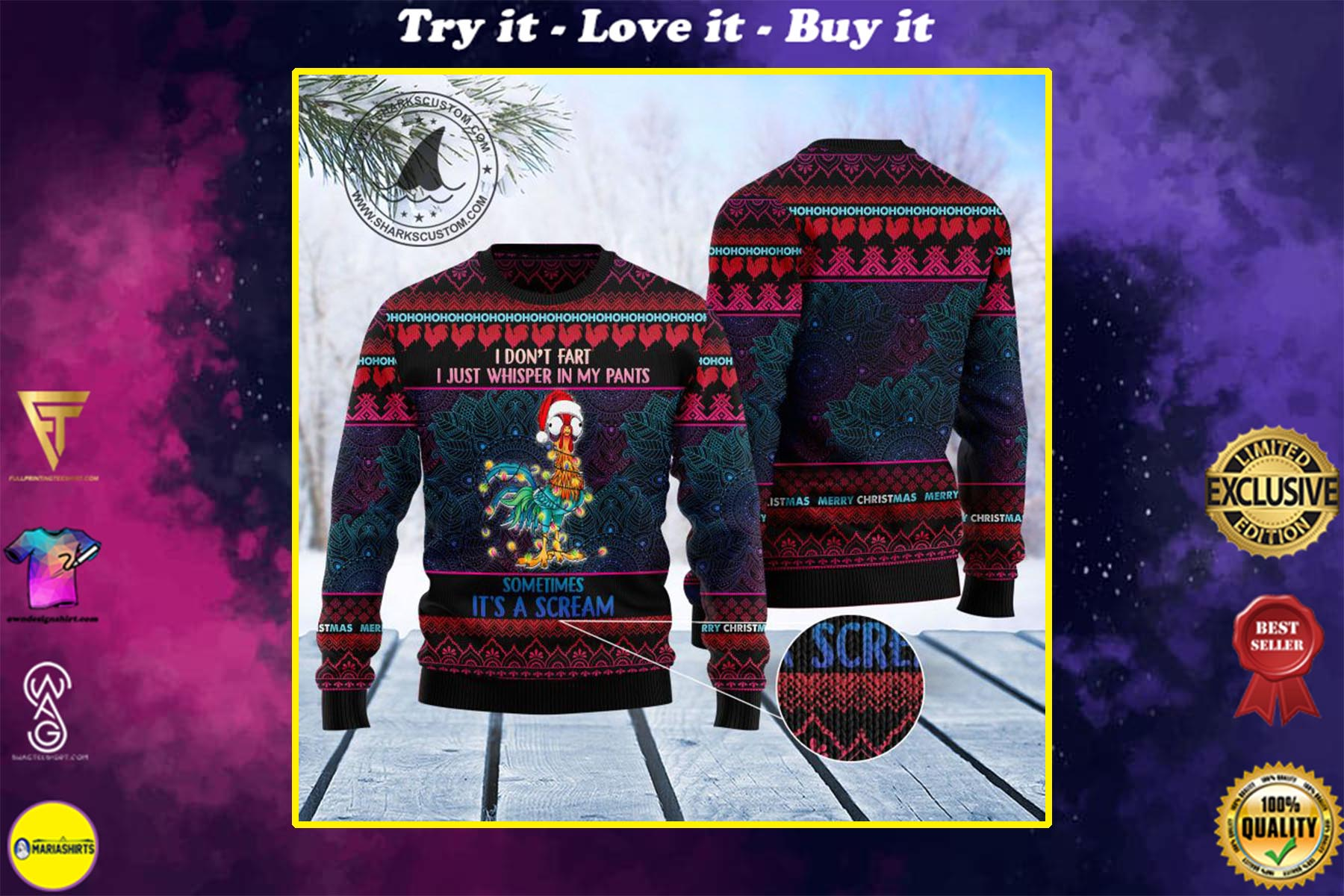 chicken hei hei i dont fart i whisper in my pants ugly christmas sweater