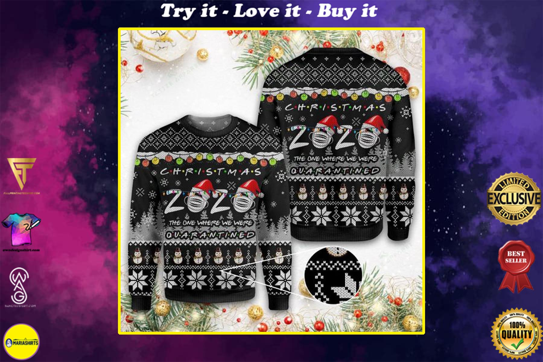 christmas 2020 the one where we were quarantined ugly christmas sweater