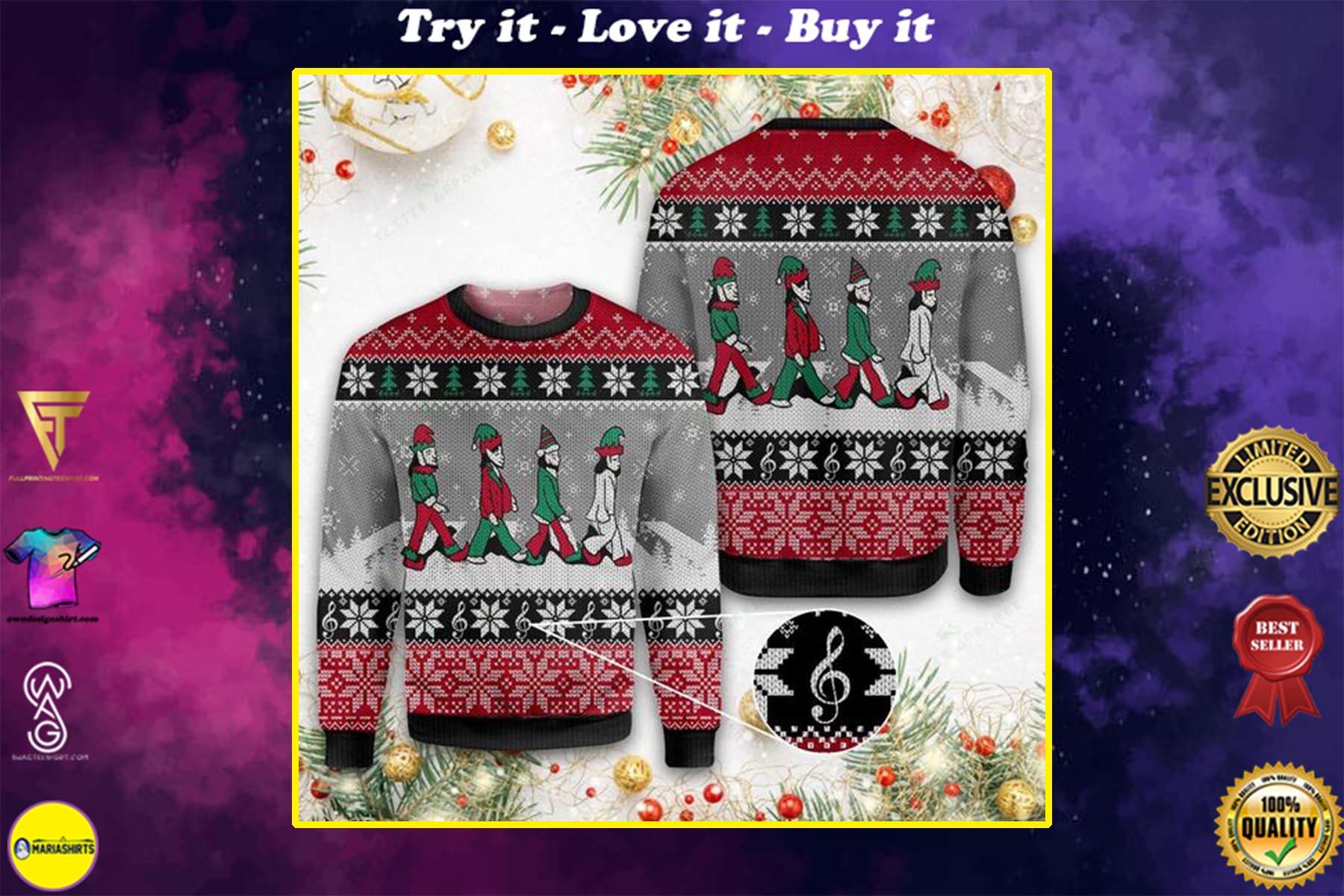 christmas elf the beatles all over printed ugly christmas sweater