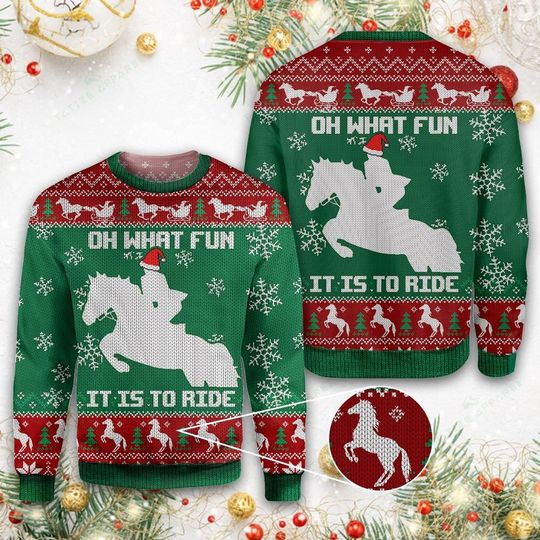 christmas horse oh what fun it is to ride all over printed ugly christmas sweater 3