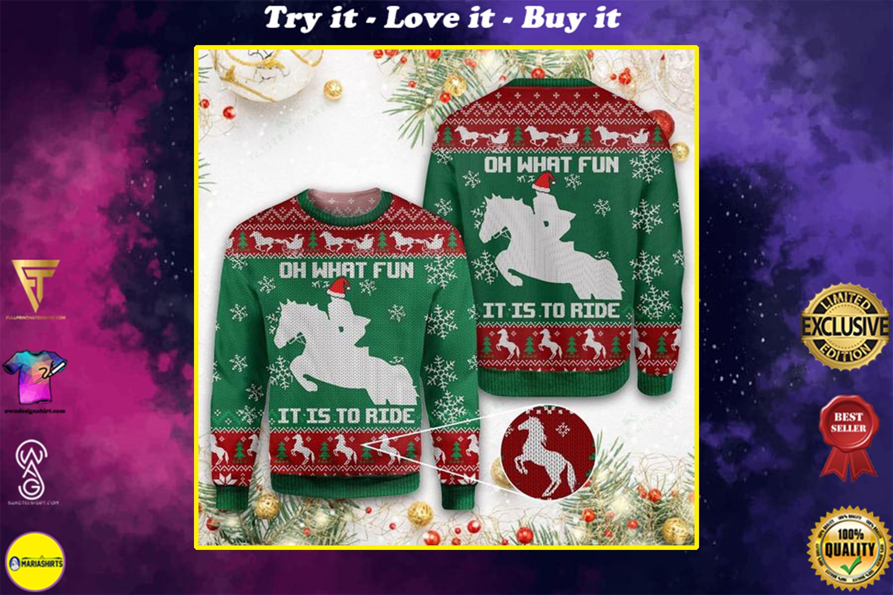 christmas horse oh what fun it is to ride all over printed ugly christmas sweater