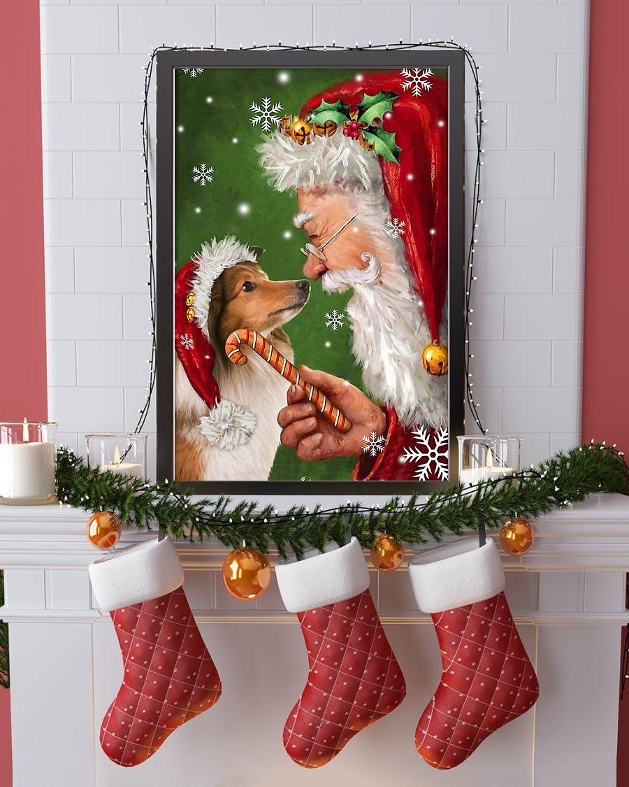 christmas shetland sheepdog and santa claus poster 1
