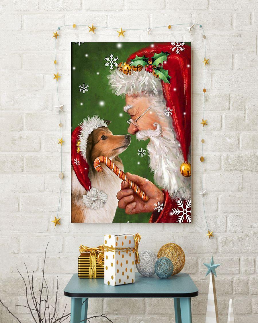 christmas shetland sheepdog and santa claus poster 2