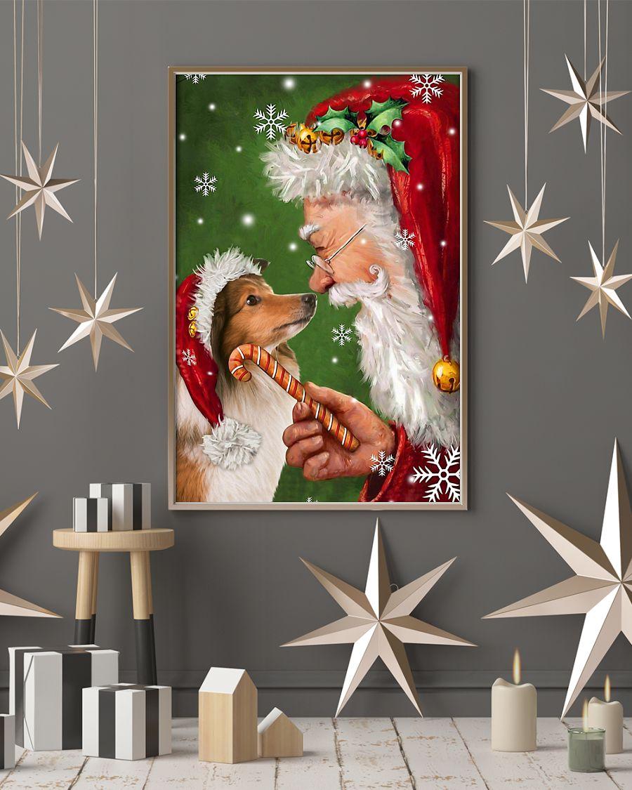 christmas shetland sheepdog and santa claus poster 3