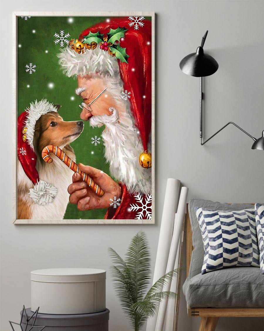 christmas shetland sheepdog and santa claus poster 4