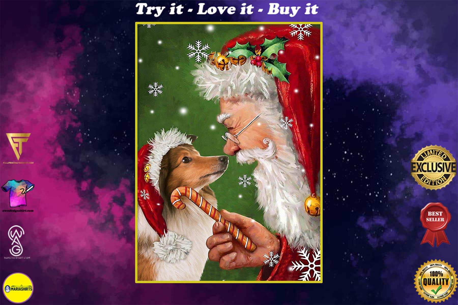 christmas shetland sheepdog and santa claus poster