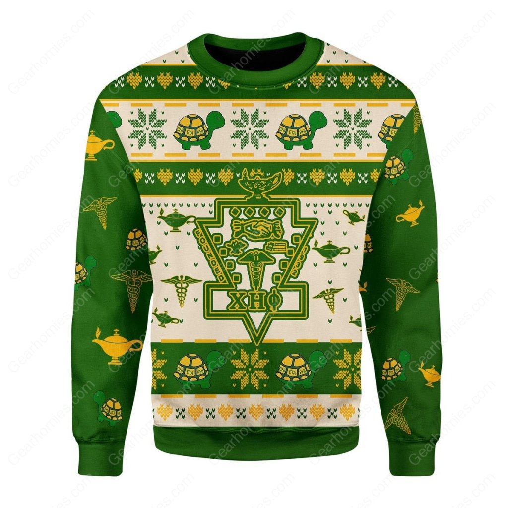 christmas time chi eta phi all over printed ugly christmas sweater 1