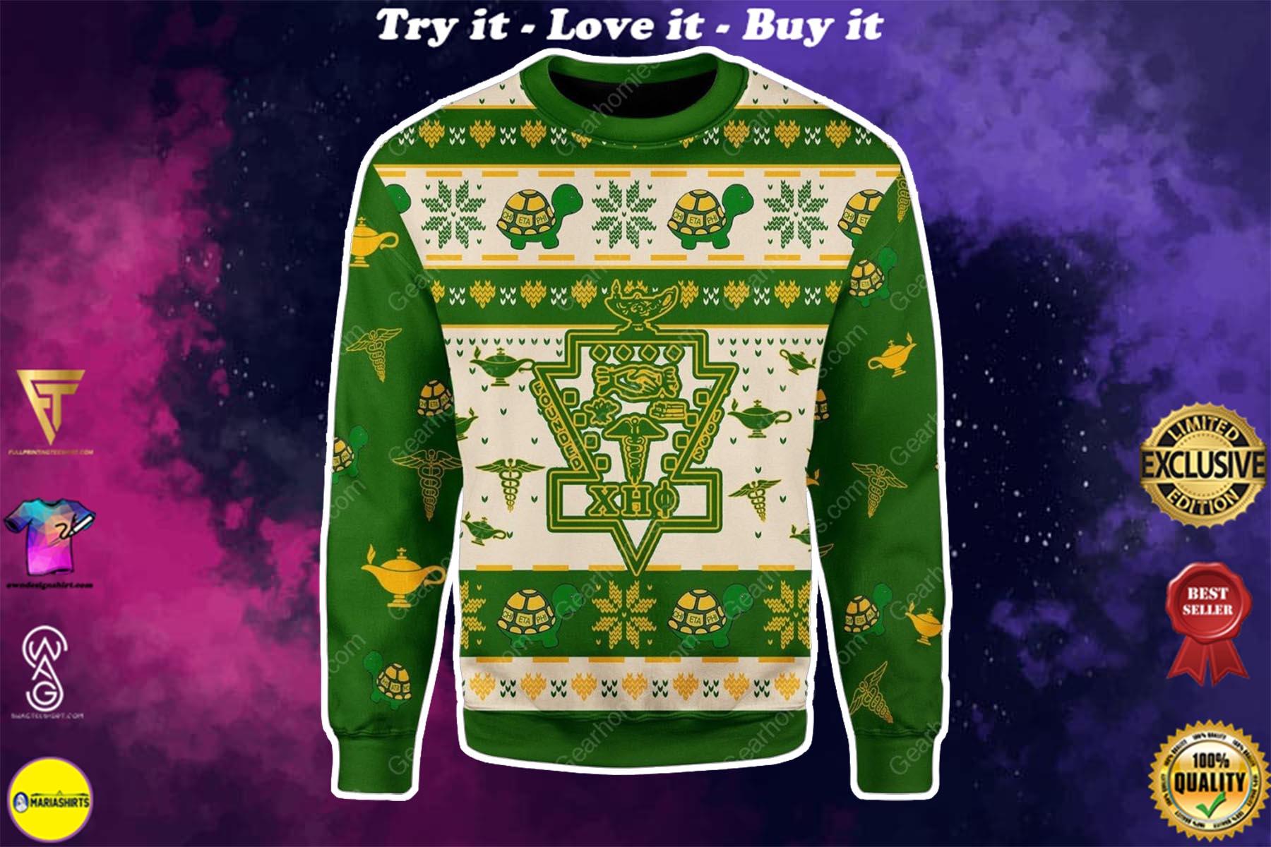 christmas time chi eta phi all over printed ugly christmas sweater