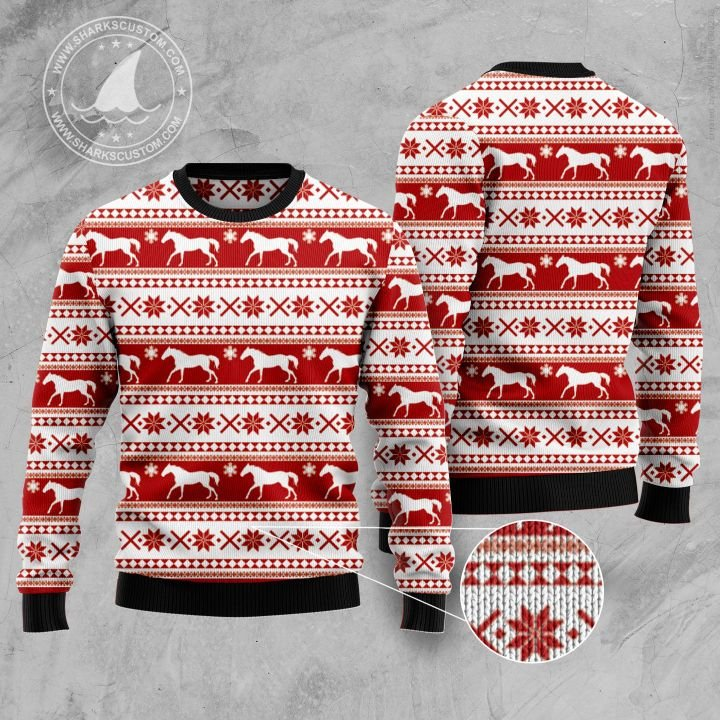 christmas time horse all over printed ugly christmas sweater 1