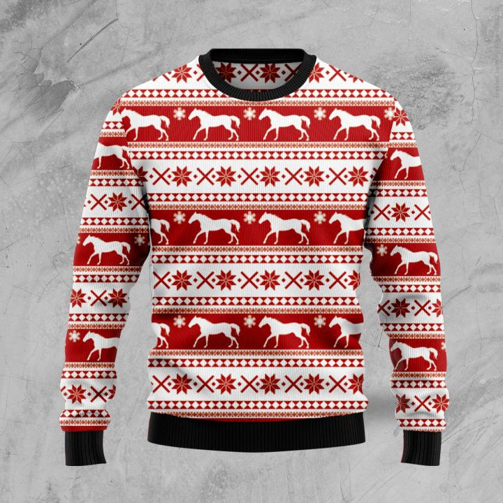 christmas time horse all over printed ugly christmas sweater 2