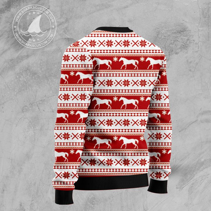 christmas time horse all over printed ugly christmas sweater 4