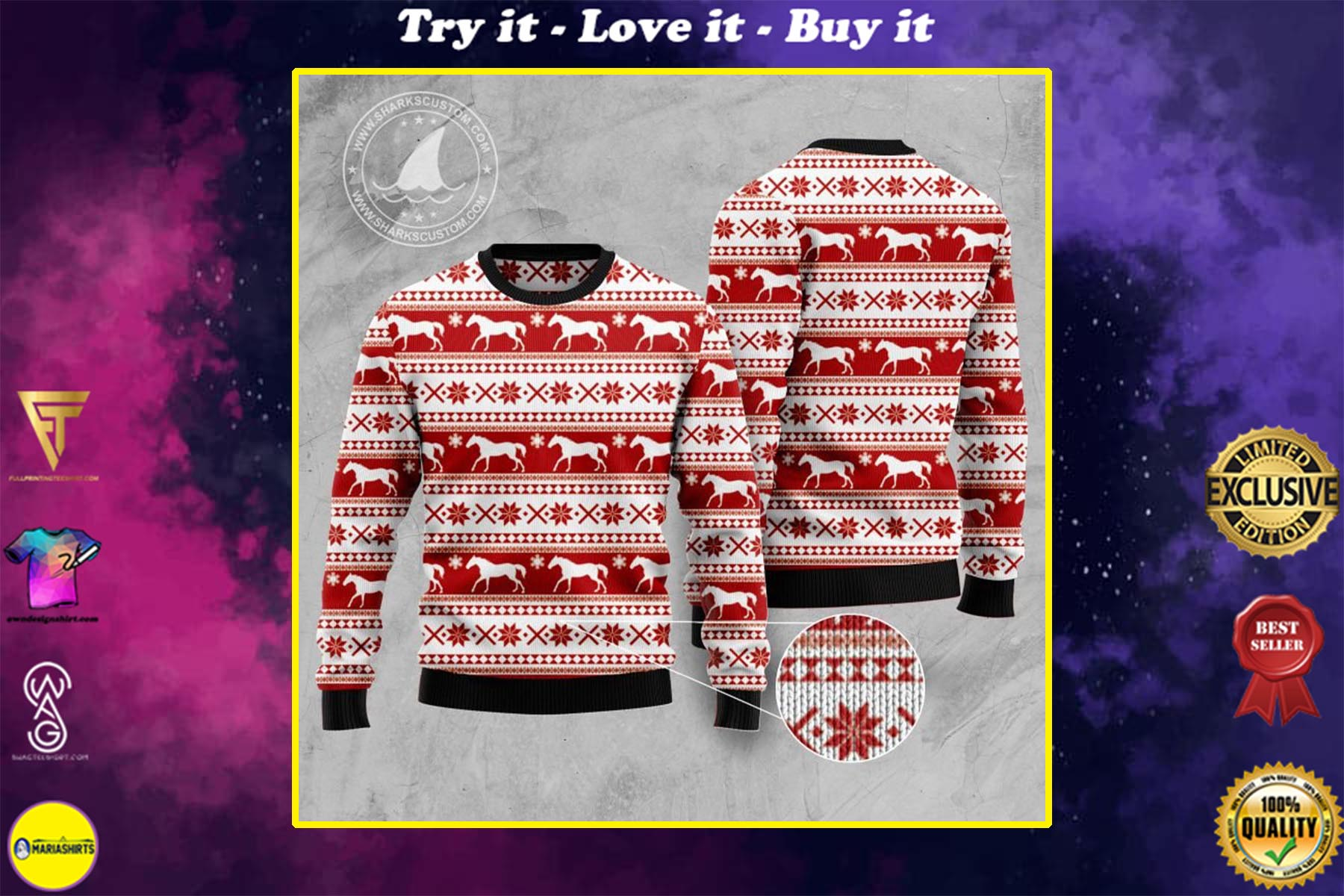 christmas time horse all over printed ugly christmas sweater