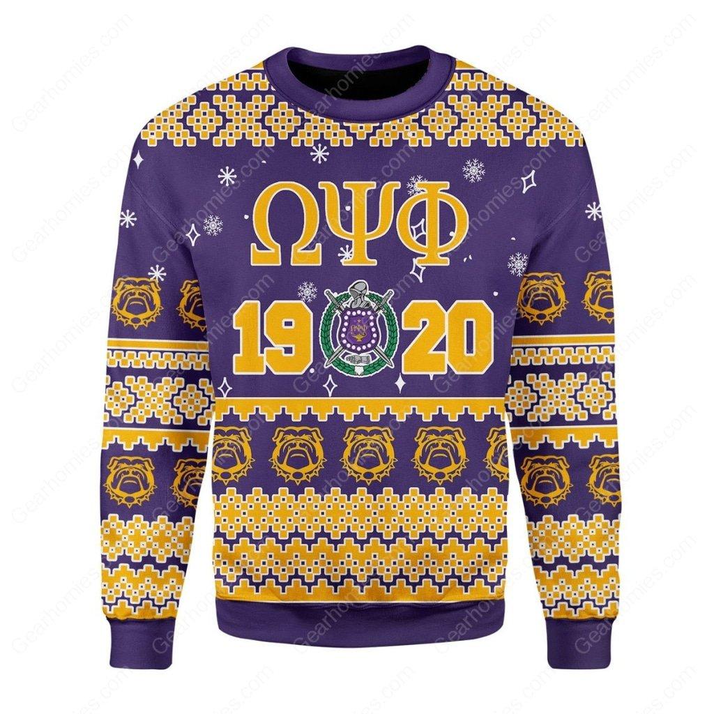 christmas time omega psi phi all over printed ugly christmas sweater 1