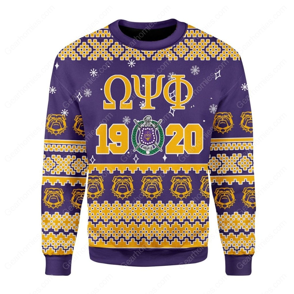 christmas time omega psi phi all over printed ugly christmas sweater 3