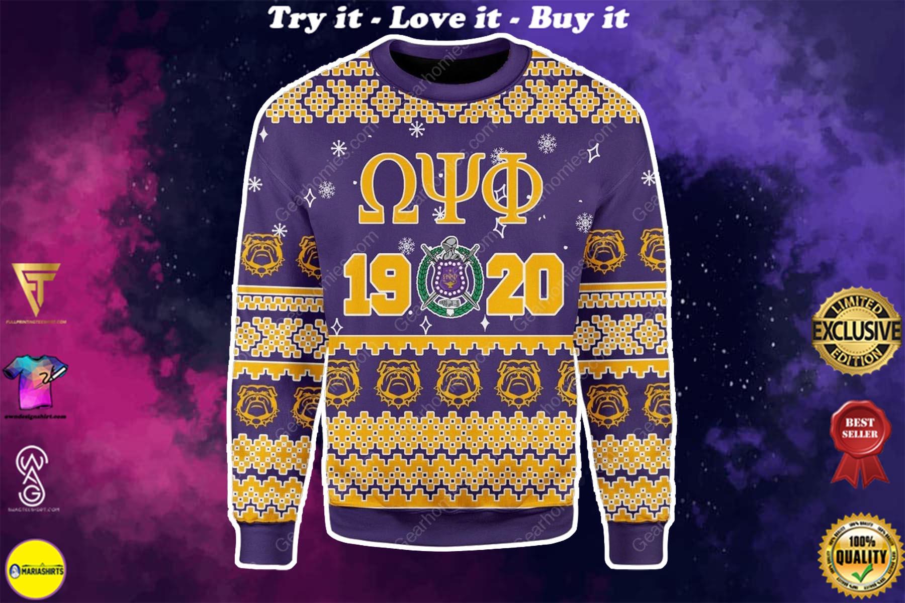 christmas time omega psi phi all over printed ugly christmas sweater