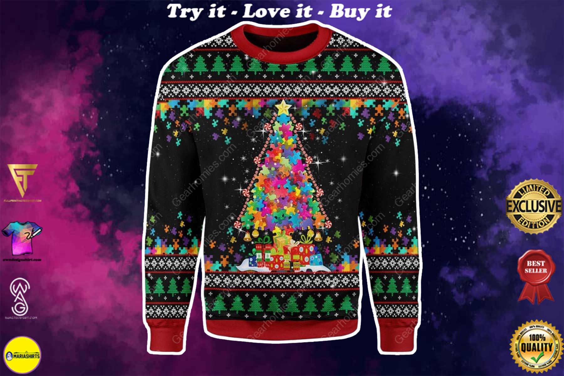 christmas tree autism awareness all over printed ugly christmas sweater