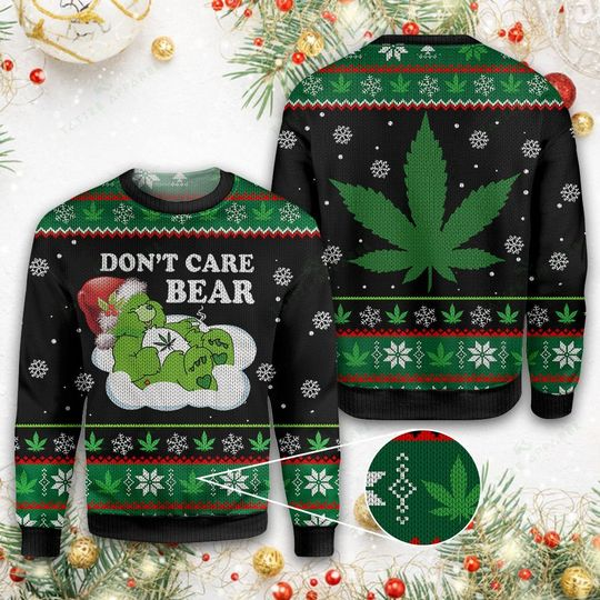 christmas weed dont care bear all over printed ugly christmas sweater 3
