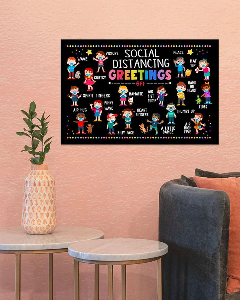 classroom social distancing greetings school poster 4