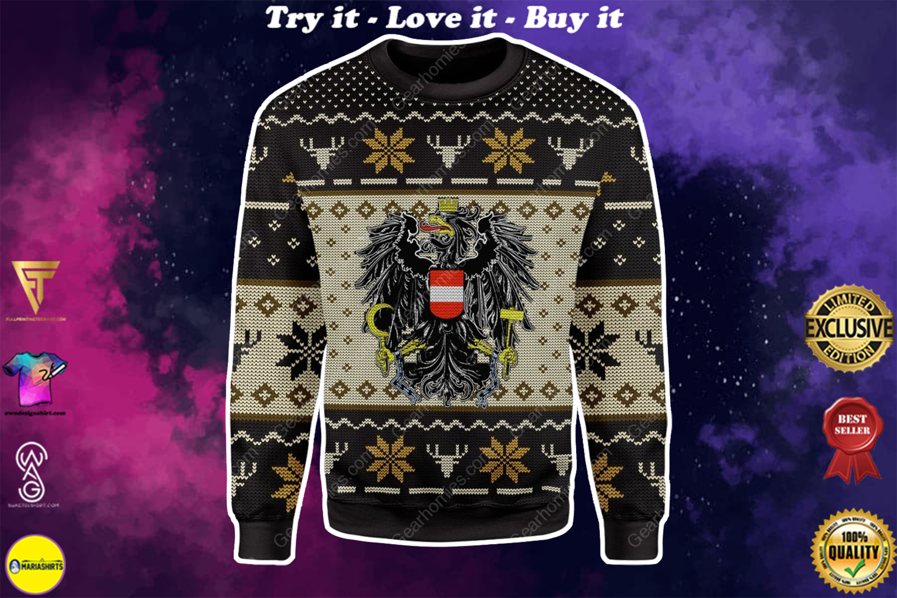 coat of arms of austria all over printed ugly christmas sweater