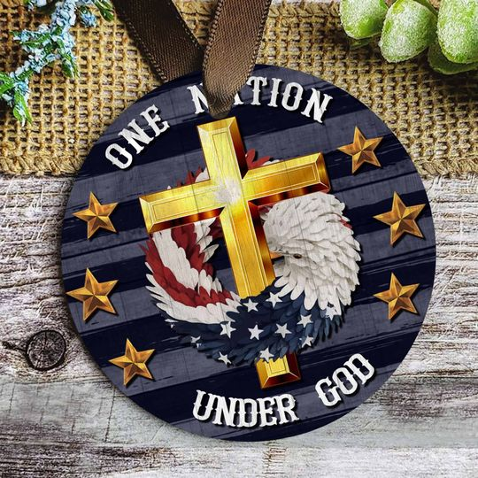 cross Jesus one nation under God christmas ornament 2