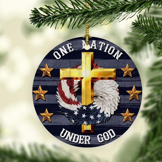 cross Jesus one nation under God christmas ornament 3