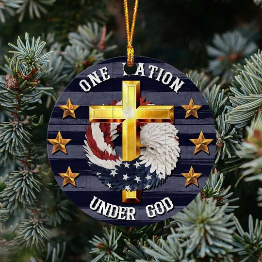 cross Jesus one nation under God christmas ornament 4