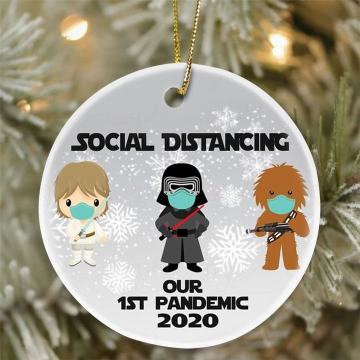 darth vader and chewbacca social distancing our 1st pandemic 2020 ornament 2