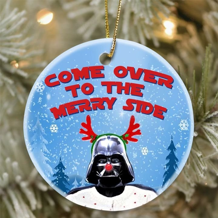 darth vader come over to the merry side christmas ornament 2