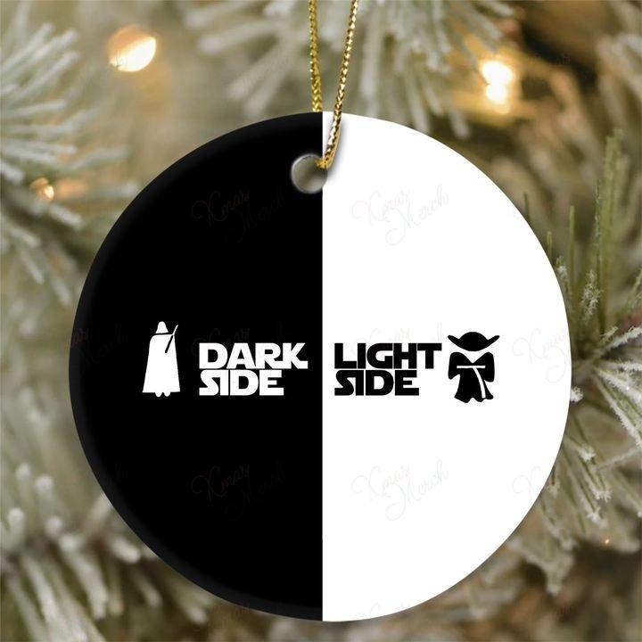 darth vader dark side and yoda light side christmas ornament 3