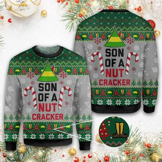 elf son of a nut cracker all over printed ugly christmas sweater 1