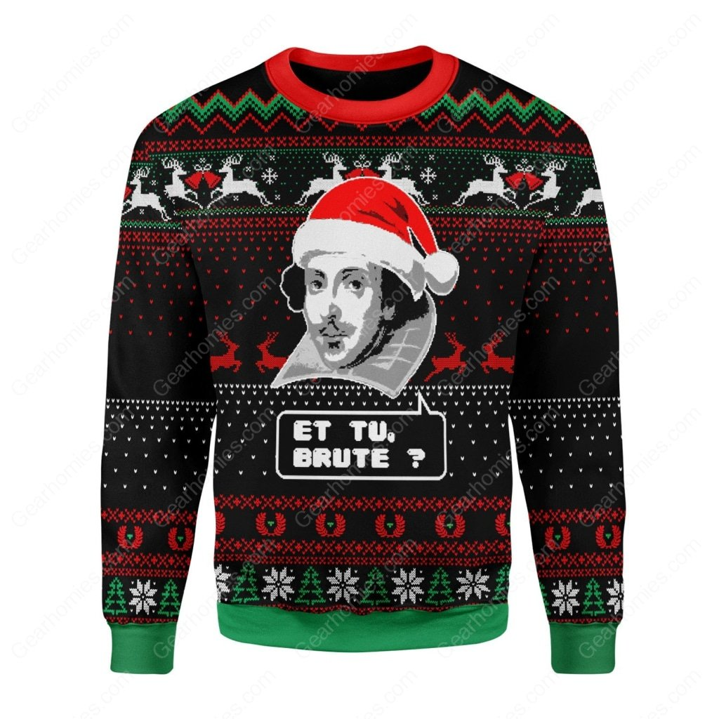 et tu brute all over printed ugly christmas sweater 1