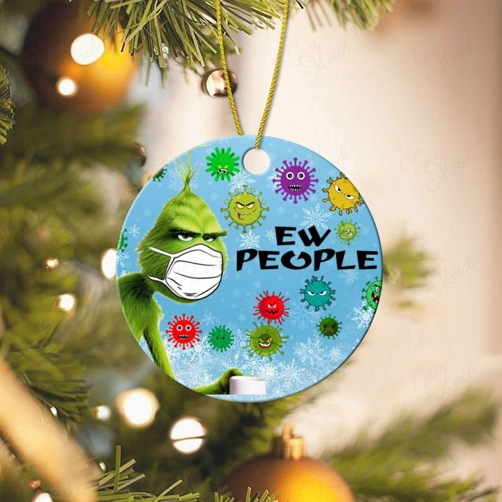 ew people 2020 grinch with mask christmas ornament 2