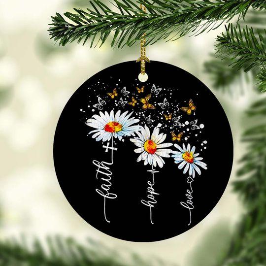 faith hope love cross daisy butterfly christmas ornament 2