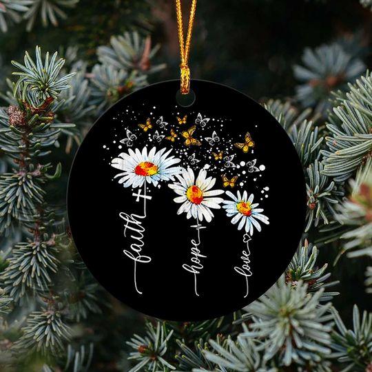 faith hope love cross daisy butterfly christmas ornament 3
