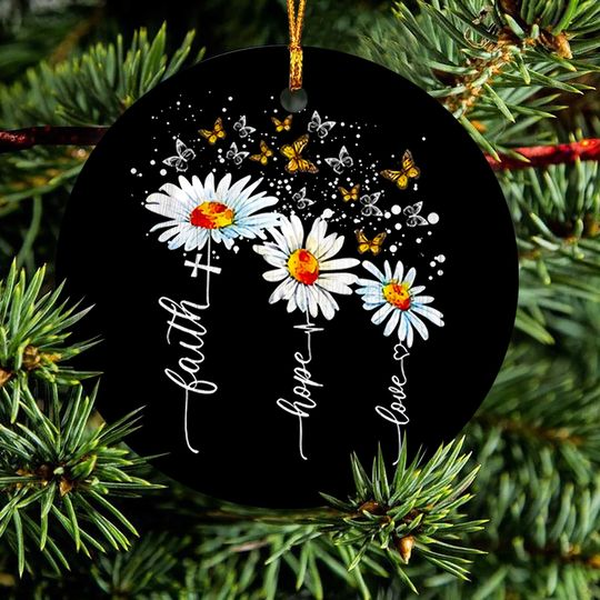 faith hope love cross daisy butterfly christmas ornament 5